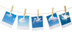 Polaroids. Prints with clouds pictures isolated on white Stock Photo
