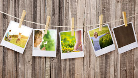Polaroids. Prints with happy people pictures Stock Photo