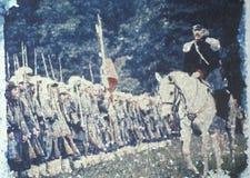 Polaroidu przeniesienie scena Cywilnej wojny bitwa byk Biega Reenactment, Virginia zdjęcie royalty free