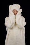 polart barn för björndräktflicka Arkivbild