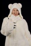 polart barn för björndräktflicka Royaltyfri Foto