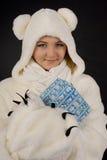 polart barn för björndräktflicka Royaltyfri Bild