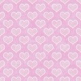 Polca cor-de-rosa e branca Dot Hearts Pattern Repeat Background imagens de stock royalty free