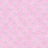 Polca cor-de-rosa e branca Dot Hearts Pattern Repeat Background fotografia de stock royalty free