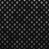 Polca Dot Black Background de Paw Silver Gray Metallic Foil del perro Imagen de archivo libre de regalías