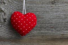 Polca Dot Fabric Heart de la decoración de la Feliz Navidad Fotografía de archivo libre de regalías