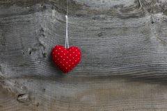 Polca Dot Fabric Heart de la decoración de la Feliz Navidad Imagenes de archivo