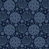 Polca Dots Seamless Vetora Pattern do azul de índigo do sumário, mão tirada ilustração stock