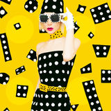 Polca Dots Vintage Lady Imagem de Stock Royalty Free