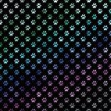 Polca metálica Dot Paw Pattern Background da folha das patas roxas azuis verdes do cão do arco-íris Imagens de Stock