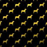 Polca metálica Dots Black Background del perro de la falsa hoja de los perros amarillos del oro Foto de archivo libre de regalías