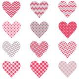 Polca rosada Dot Heart Shape Pattern de Chevron Imagen de archivo
