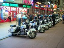 A polícia bikes o Times Square Fotos de Stock Royalty Free