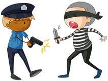 Polícia com arma e ladrão com faca Fotografia de Stock