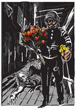 Polícia com flores, herói delicado - a mão livre, vetor Foto de Stock Royalty Free
