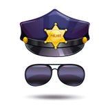 A polícia dos desenhos animados tampa e apanha óculos de sol Foto de Stock