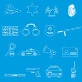 A polícia esboça ícones simples eps10 ajustado Imagem de Stock Royalty Free