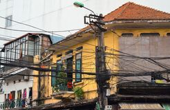 Pold house with wire in Hanoi Stock Photography
