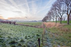 Dutch polder landscape in the winter season stock image