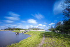 Polder landscape in the Netherlands. Polder landscape near Geestmerambacht in the Netherlands stock images