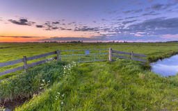 Polder landscape sunset Royalty Free Stock Photography