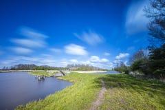 Polderlandskap i Nederländerna arkivbilder