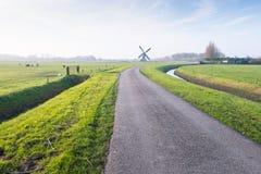 Polderlandskap med en krökt landsväg Arkivfoton