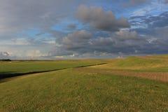 Polders derrière la digue sur Terschelling Photographie stock