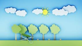 poleśny Papierowy lasowy zniszczenie metali nożyce Kreatywnie ekologii pojęcie Realistyczna 4K animacja royalty ilustracja