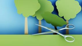 poleśny Papierowy lasowy zniszczenie metali nożyce Kreatywnie ekologii pojęcie Realistyczna 4K animacja ilustracja wektor