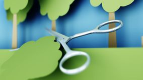 poleśny Papierowy lasowy zniszczenie metali nożyce Kreatywnie ekologii pojęcie Realistyczna 4K animacja ilustracji