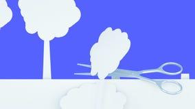 poleśny Papierowy lasowy zniszczenie metali nożyce Kreatywnie ekologii pojęcie Realistyczna 4K animacja Zieleń ilustracja wektor