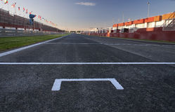 Pole. A view from the pole position in a racetrack Stock Photo