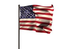 Pole with American flag. Against white background Stock Photography