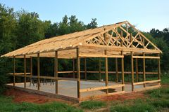 Pole Barn. New pole barn being constructed Royalty Free Stock Photos