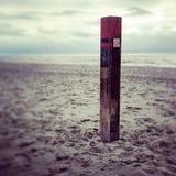 Pole at beach stock photo