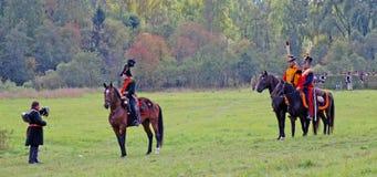 Pole bitwy scena Borodino reenactment. Zdjęcie Royalty Free