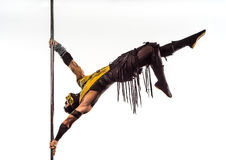 On the pole bodyart Scorpion. From Mortal Kombat Royalty Free Stock Photography