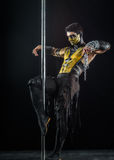 On the pole bodyart Scorpion. From Mortal Kombat Royalty Free Stock Photos