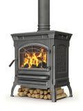 Poêle brûlant en bois Photo stock