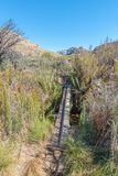 Pole bridge over Dwars River on trail to Maltese Cross. DWARSRIVIER, SOUTH AFRICA, AUGUST 23, 2018: A pole bridge over the Dwars River on the Bokveldskloof Trail stock image