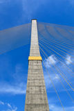 The pole of cable bridge Stock Image