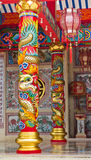 Pole carved with Chinese dragon. In Chinese temple Royalty Free Stock Photography