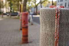 Yarn bombing royalty free stock photo