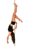 Pole dance fitness. Young woman exercising pole dance fitness Royalty Free Stock Photos