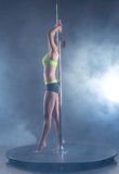 Pole dance. Harmonous girl posing in spotlights Royalty Free Stock Image