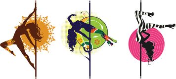 Pole dance logos. Vector illustration of pole dancers silhouettes in different poses Stock Photo