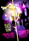 Pole dance party design with fashion girl. Stock Images