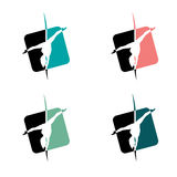 Pole Dance School Logo or Badge. Corporate Identity for Pole Dance School. Set of Pole Dance School Logos or Badges. Corporate Identity for Pole Dance School Stock Images
