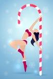 Pole dance vector christmas illustration Stock Photos
